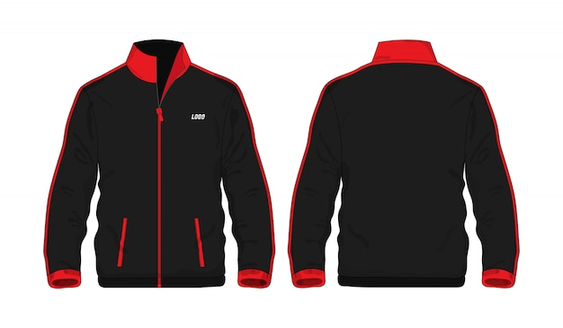 Modèle de veste de sport rouge et noir pour la conception.
