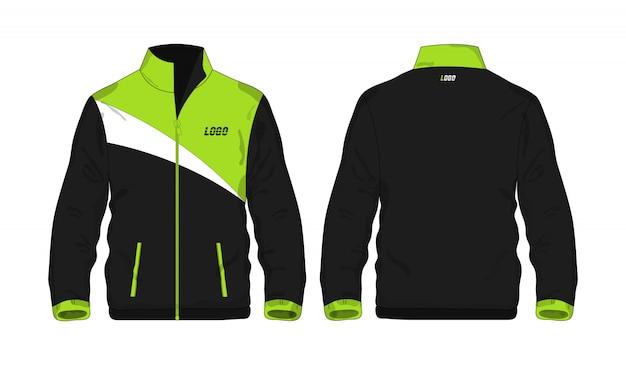 Modèle de veste de sport vert et noir pour la conception sur fond blanc.
