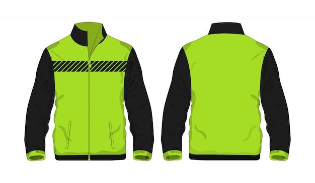 Modèle de veste de sport vert et noir pour la conception.