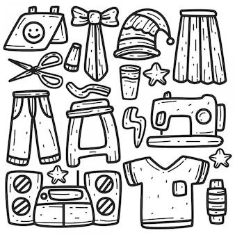 Modèle de vêtements kawaii doodle