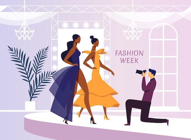 Modèle de vêtements photoshoot illustration vectorielle plate