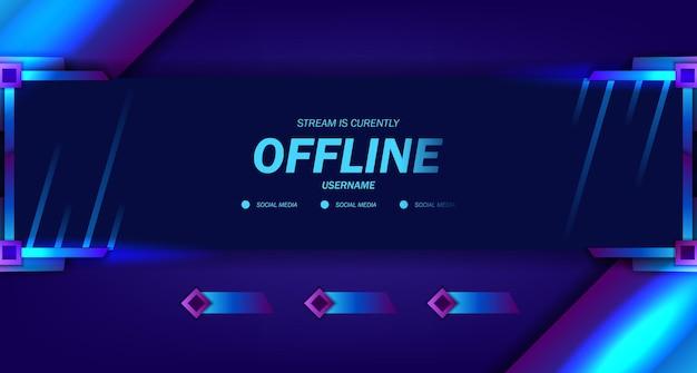 Modèle de vidéo en direct de jeu en streaming hors ligne avec affichage de cadre de néon sombre pour l'esport à la mode