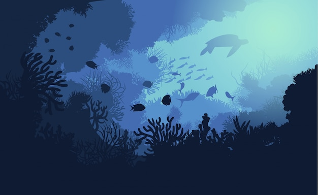 Modèle de vie sous-marine colorée