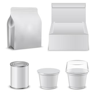 Modèle vierge de boîtes de nourriture et de contenants en plastique.