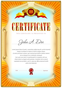 Modèle vierge de certificat