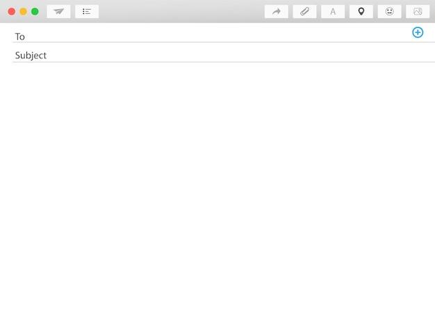 Modèle vierge de courrier électronique. message électronique de fenêtre vide. panneau web envoyer. interface de trame de courrier