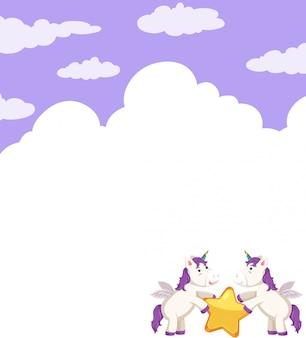 Modèle vierge de licorne avec étoiles