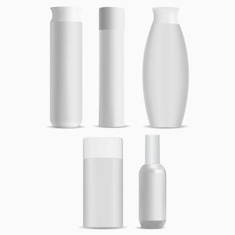 Modèle vierge de luxe de bouteille de shampooing