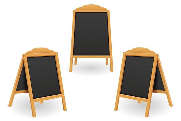 Modèle vierge de tableau de menu noir en bois
