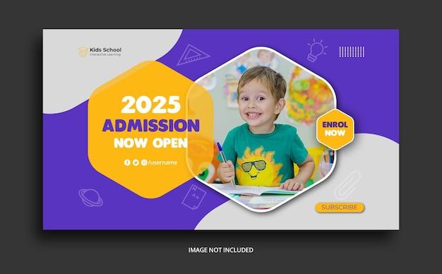 Modèle de vignette youtube d'admission à l'éducation scolaire pour enfants