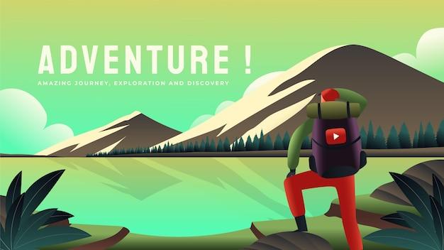Modèle de vignette youtube d'aventure dégradée