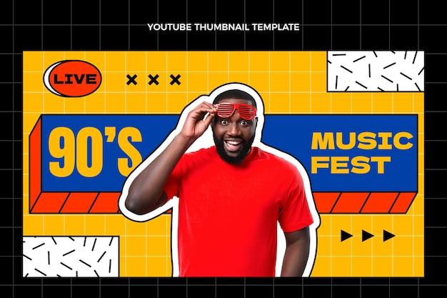 Modèle de vignette youtube du festival de musique nostalgique plat des années 90