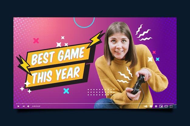 Modèle de vignette youtube gamer rétro plat linéaire