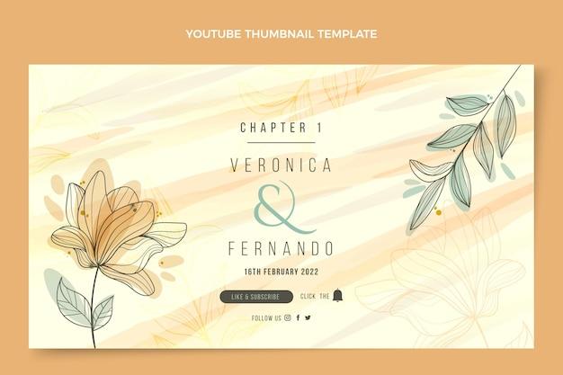 Modèle de vignette youtube de mariage dessiné à la main