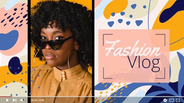 Modèle de vignette youtube de mode abstraite plate organique