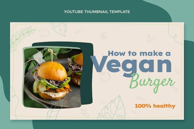 Modèle de vignette youtube de nourriture dessinée à la main
