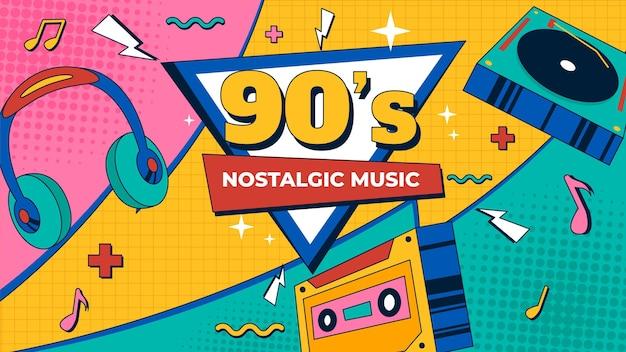 Modèle de vignette youtube plat nostalgique des années 90 dessiné à la main