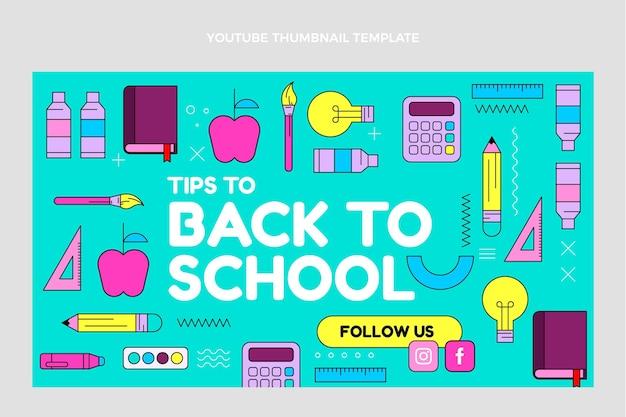 Modèle de vignette youtube à plat de retour à l'école