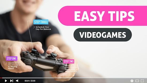 Modèle de vignette youtube pour jeux vidéo vlogger