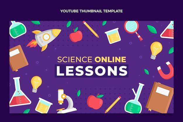 Modèle de vignette youtube science de style plat