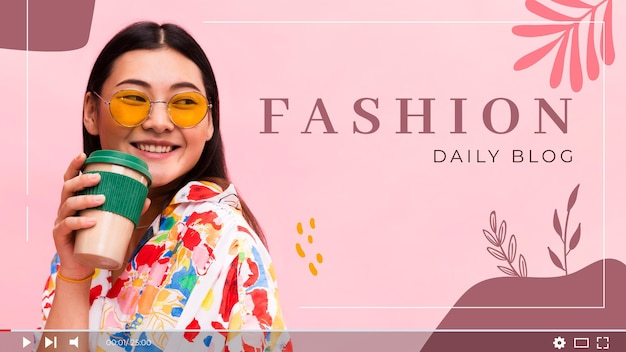 Modèle de vignette youtube vlogger de mode