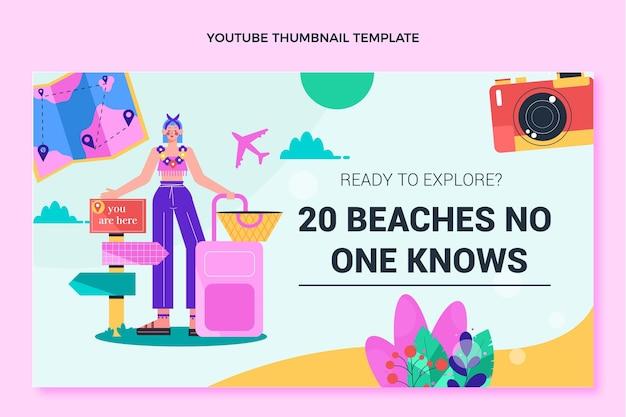 Modèle de vignette youtube de voyage design plat