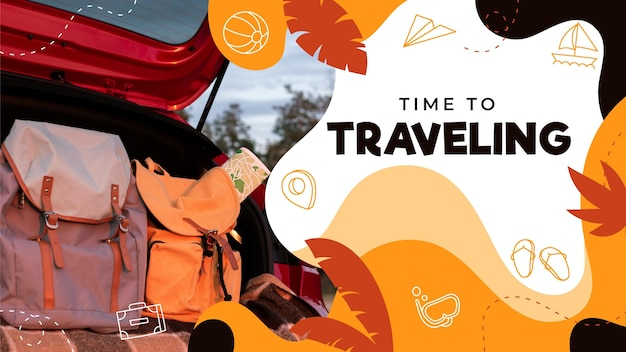 Modèle de vignette youtube de voyage dessiné à la main