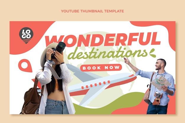 Modèle de vignette youtube de voyage plat