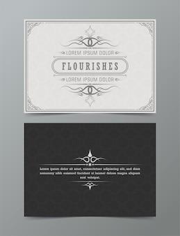 Modèle de vignettes de tourbillons calligraphiques ornés de carte de voeux ornement vintage