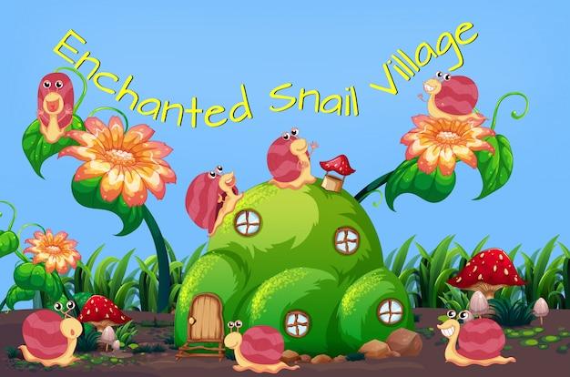 Modèle de village d'escargot enchanté