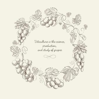 Modèle vintage abstrait couronne naturelle avec des grappes de raisin et citation dans le style de croquis