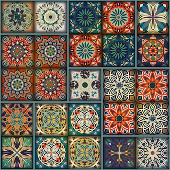 Modèle vintage coloré avec des éléments floraux et mandala
