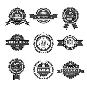 Modèle vintage d'étiquettes premium monochromes pour best-seller de garantie et autres.