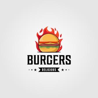 Modèle vintage de logo de nourriture de hamburgers chauds