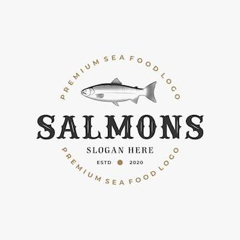 Modèle vintage de logo de saumon