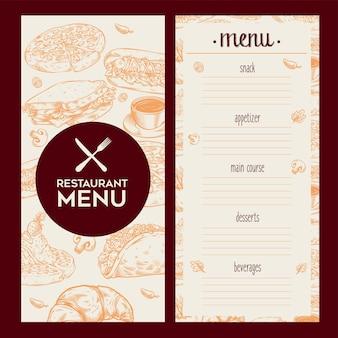 Modèle vintage de menu de restaurant