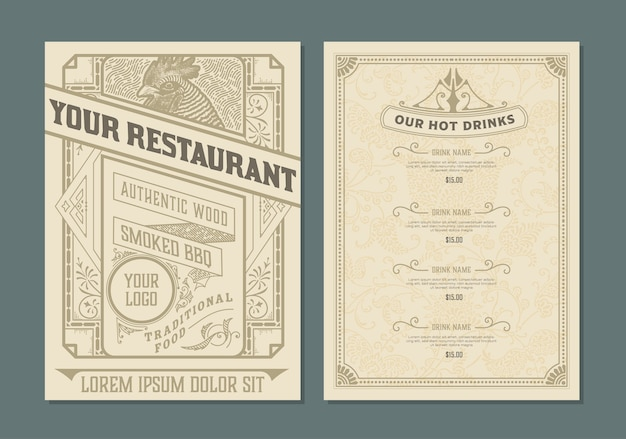 Modèle vintage pour la conception de menus de restaurant