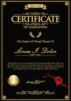 Modèle vintage rétro de certificat ou de diplôme