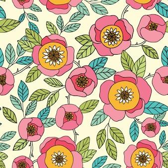 Modèle vintage sans couture avec fleur