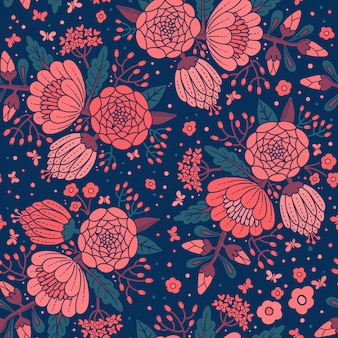 Modèle vintage sans couture avec fleurs décoratives.