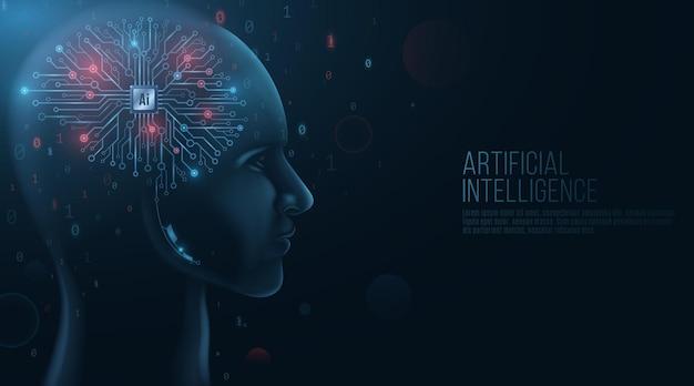 Modèle de visage humain futuriste avec interface sur sa tête