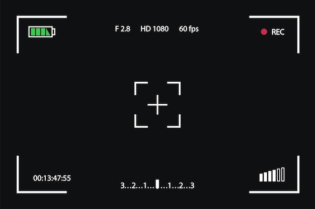 Modèle de viseur isolé sur un cadre de photographie d'écran de fond noir pour un instantané vidéo