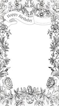 Modèle de voeux d'anniversaire vintage avec des fleurs dessinées à la main, remixé à partir de la collection du domaine public