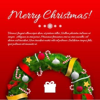 Modèle de voeux festif avec des rubans de texte de guirlande verte arcs cadeaux de bonbons boules sur rouge
