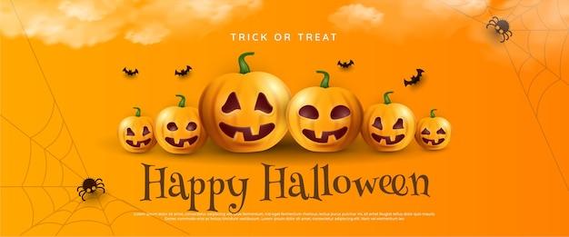 Modèle de voeux joyeux halloween avec des citrouilles