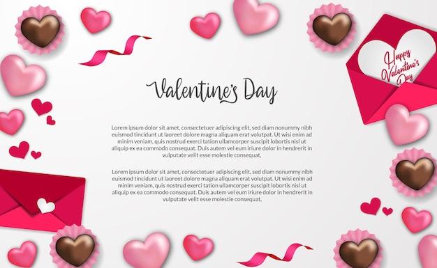 Modèle de voeux joyeux saint valentin avec forme de coeur doux et décoration de cadre de lettre d'amour enveloppe avec fond blanc