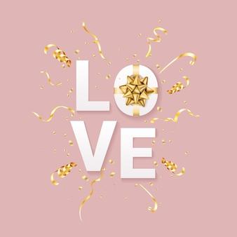 Modèle de voeux saint valentin. les lettres aiment avec un arc doré réaliste et des confettis scintillants sur fond rouge. réaliste .