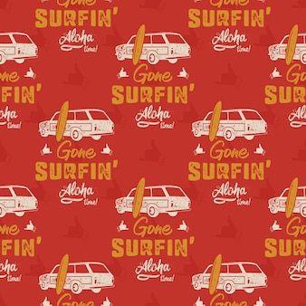Modèle de voiture de surf. wagon de surf dessiné main vintage avec motif de planche de surf. typographie de citation de temps d'aloha.