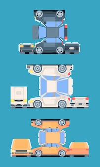 Modèle de voiture de tourisme pour couper l'ensemble de montage. des voitures de couleur en papier découpant des collages intéressants pour les enfants et les adultes qui créent leur propre collection unique de jouets rares.