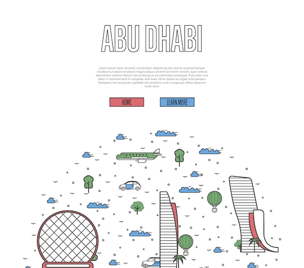 Modèle de voyage à abu dhabi dans un style linéaire
